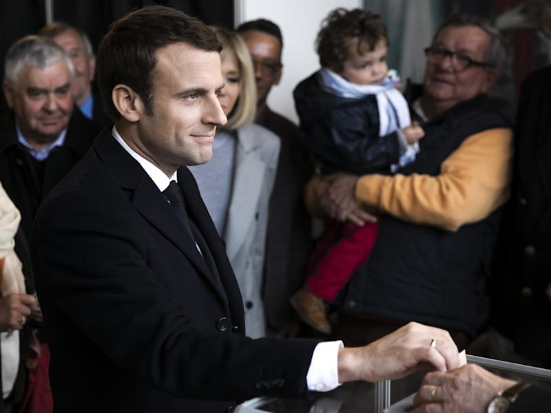 Emmanuel Macron, leader of the En Marche! movement, casts his vote on Sunday: Getty
