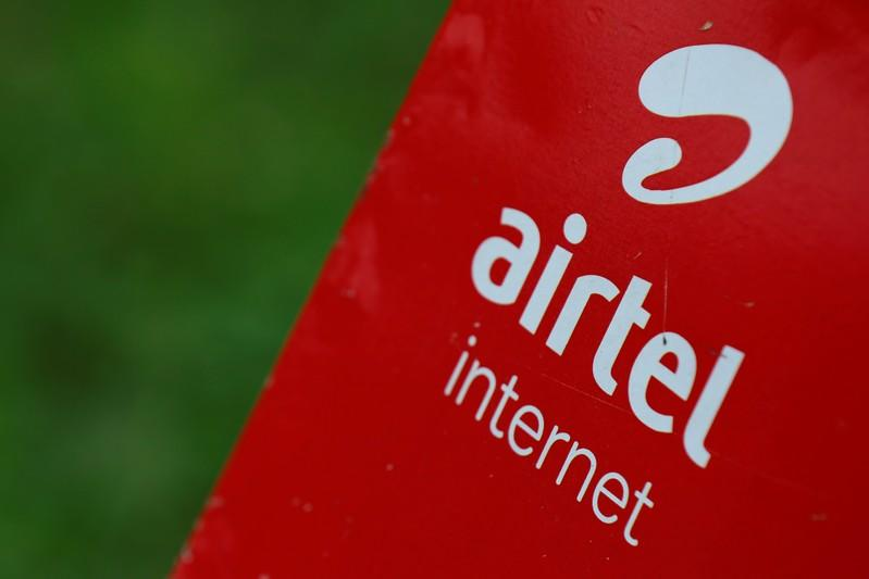 The logo of telecommunications company Airtel is pictured on a street in Abuja