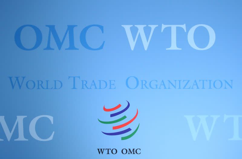 FILE PHOTO: The logo of the World Trade Organization (WTO) is pictured ahead of a news conference in Geneva