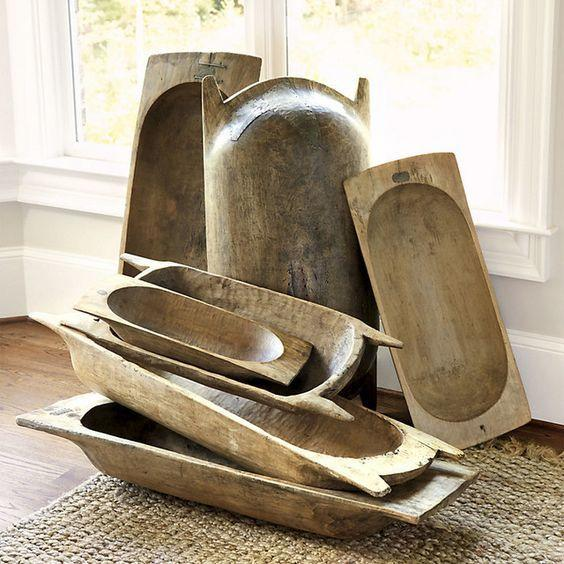 <p>Although wooden dough bowls were formerly used to let dough rise, they're now extremely popular as centerpiece containers.</p>