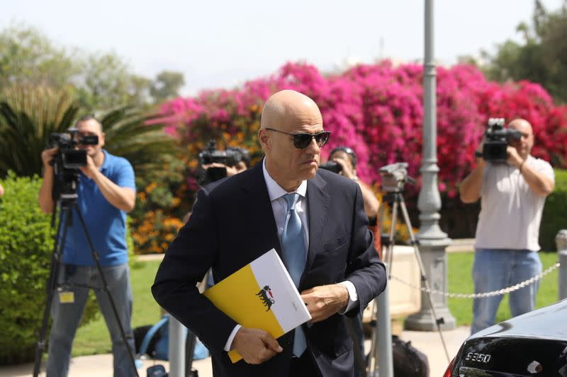 Claudio Descalzi, CEO of Italian energy company Eni arrives for a meeting with Cypriot President Nicos Anastasiades at the Presidential Palace in Nicosia