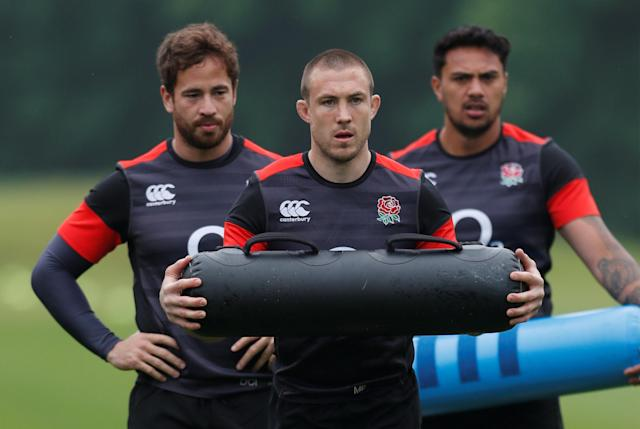 Rugby Union - England Training - Pennyhill Park, Bagshot, Britain - May 24, 2018 England's Danny Cipriani and Mike Brown during training Action Images via Reuters/Andrew Couldridge