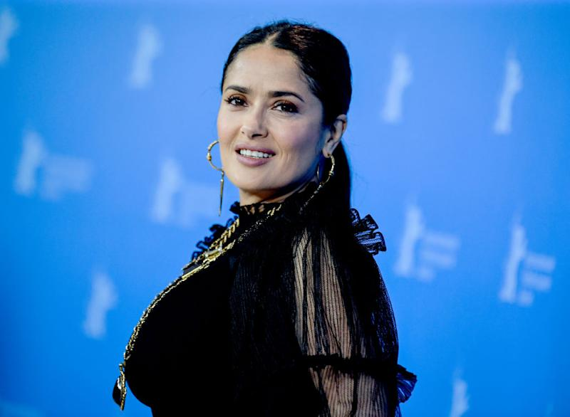 Salma Hayek has shared a make-up free pool selfie to Instagram, pictured here February 2020. (Getty Images)