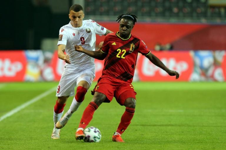 Jeremy Doku playing for Belgium against Belarus in a World Cup qualifier in March