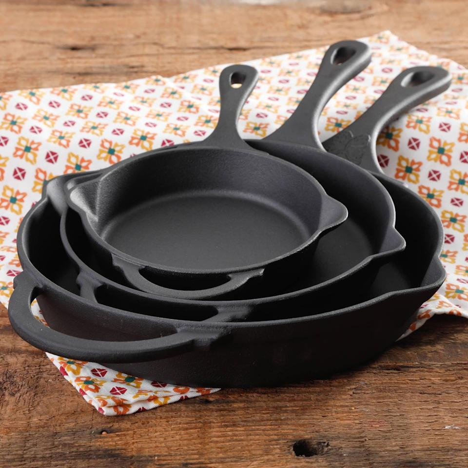 <p>These <span>The Pioneer Woman Timeless Beauty Cast Iron Set, 3-Piece</span> ($50) will come in handy for your cooking adventures.</p>