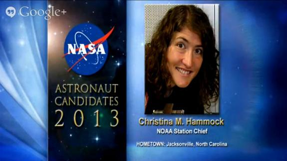 NASA's astronaut candidates for 2013, including Christina M. Hammock, were announced on June 17, 2013.