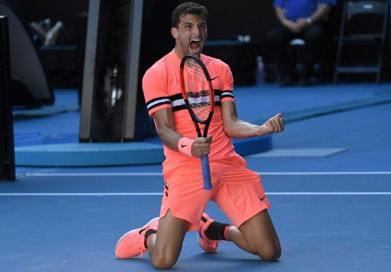 Bulgaria's Grigor Dimitrov celebrates after defeating Russia's Andrey Rublev in their Australian Open third round match, in Melbourne, on January 19, 2018