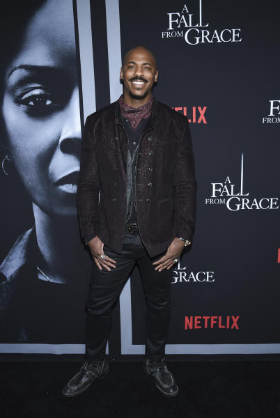 """Actor Mehcad Brooks attends the premiere of Tyler Perry's """"A Fall from Grace,"""" at Metrograph, Monday, Jan. 13, 2020, in New York. (Photo by Evan Agostini/Invision/AP)"""