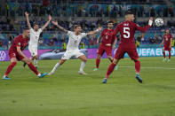 Italy's Ciro Immobile, center, calls for referee attention during the Euro 2020, soccer championship group A match between Italy and Turkey, at the Rome Olympic stadium, Friday, June 11, 2021. (AP Photo/Alessandra Tarantino, Pool)