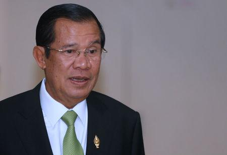 Cambodia's PM Hun Sen arrives at the National Assembly of Cambodia in Phnom Penh