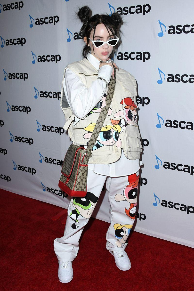 <p>Always a fan of a cartoon print, Billie brought the Powerpuff Girls along to the red carpet with her. </p>