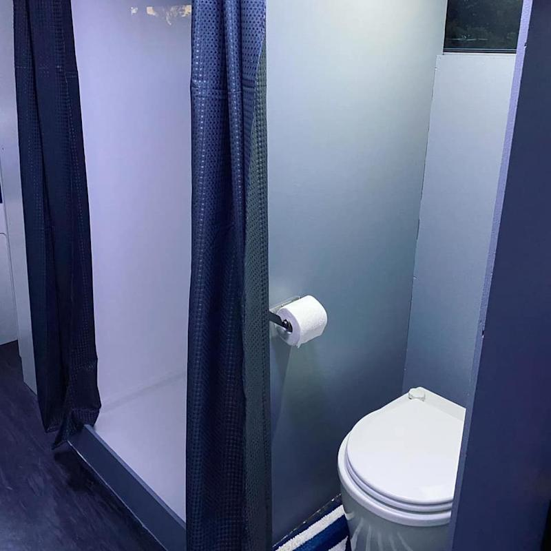 The toilet and shower inside the Pascoe family bus