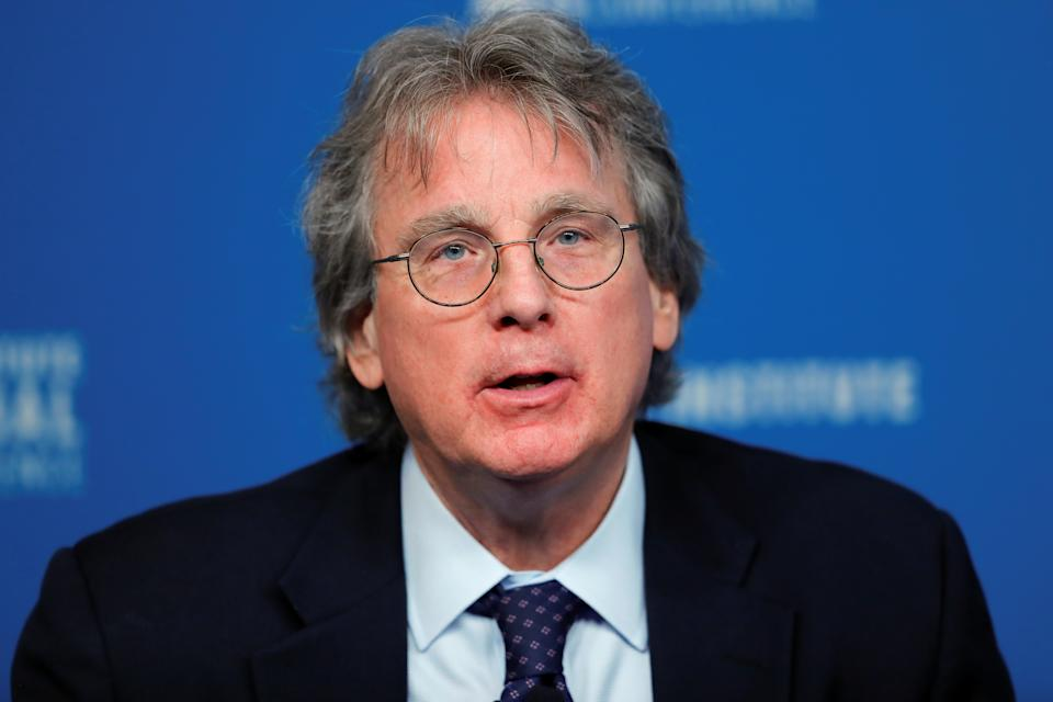 """Roger McNamee Founding Partner, Elevation Partners; Author, """"Zucked: Waking Up to the Facebook Catastrophe"""" speaks during the Milken Institute's 22nd annual Global Conference in Beverly Hills, California, U.S., April 30, 2019.  REUTERS/Mike Blake"""