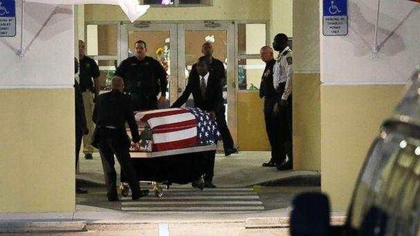PHOTO: The casket of U.S. Army Sgt. La David Johnson is wheeled to the hearse after the viewing at the Christ the Rock Community Church on October 20, 2017 in Cooper City, Florida. (Joe Raedle/Getty Images)