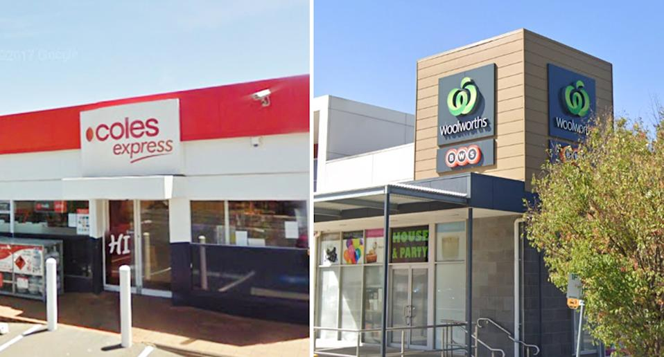 Coles Express in Reservoir and the Woolworths store. Both were visited by a positive Covid case.