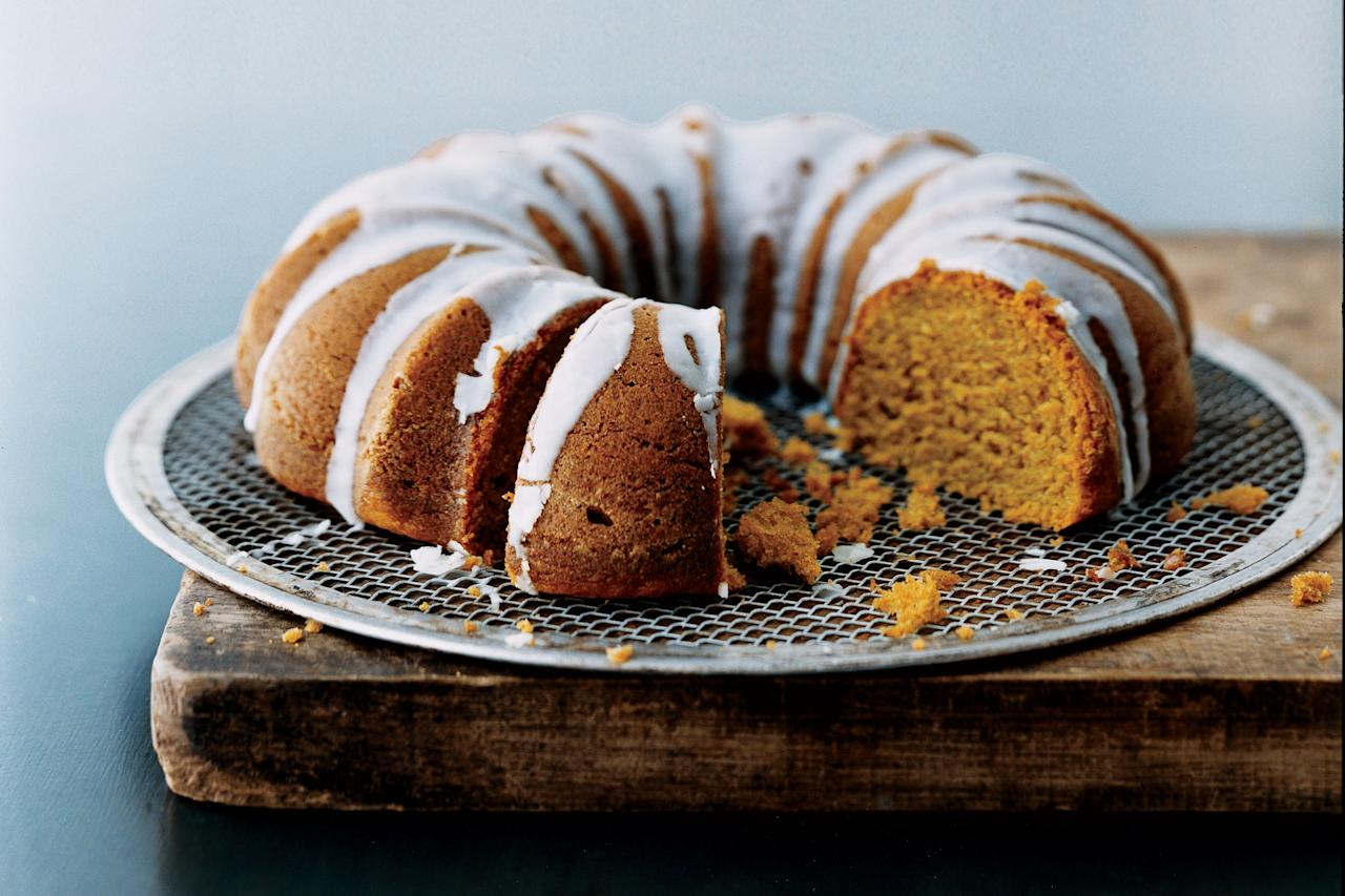 """There are two arguments for making this over a pumpkin pie: 1) it doesn't require a crust and 2) it keeps for several days, making it a great option for those drop-in guests. <a href=""""https://www.epicurious.com/recipes/food/views/pumpkin-spice-bundt-cake-with-buttermilk-icing-233011?mbid=synd_yahoo_rss"""">See recipe.</a>"""