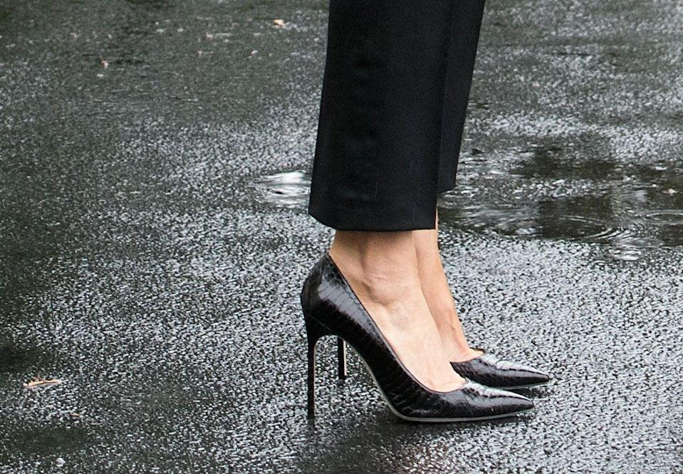 "<p>Stilettos don't exactly scream, ""I'm here to help."" The first lady's footwear ended up <a href=""https://www.thecut.com/2017/08/melania-trump-hurricane-heels-and-the-artifice-of-fashion.html"" rel=""nofollow noopener"" target=""_blank"" data-ylk=""slk:distracting"" class=""link rapid-noclick-resp"">distracting</a> from the issue at-hand: the devastation left by Hurricane Harvey. </p>"