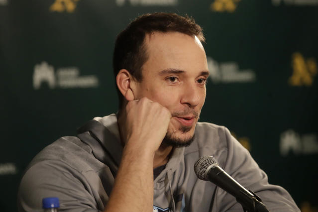 Tampa Bay Rays pitcher Charlie Morton speaks at a news conference before baseball practice in Oakland, Calif., Tuesday, Oct. 1, 2019. The Rays are scheduled to face the Oakland Athletics in an American League wild-card game Wednesday, Oct. 2. (AP Photo/Jeff Chiu)