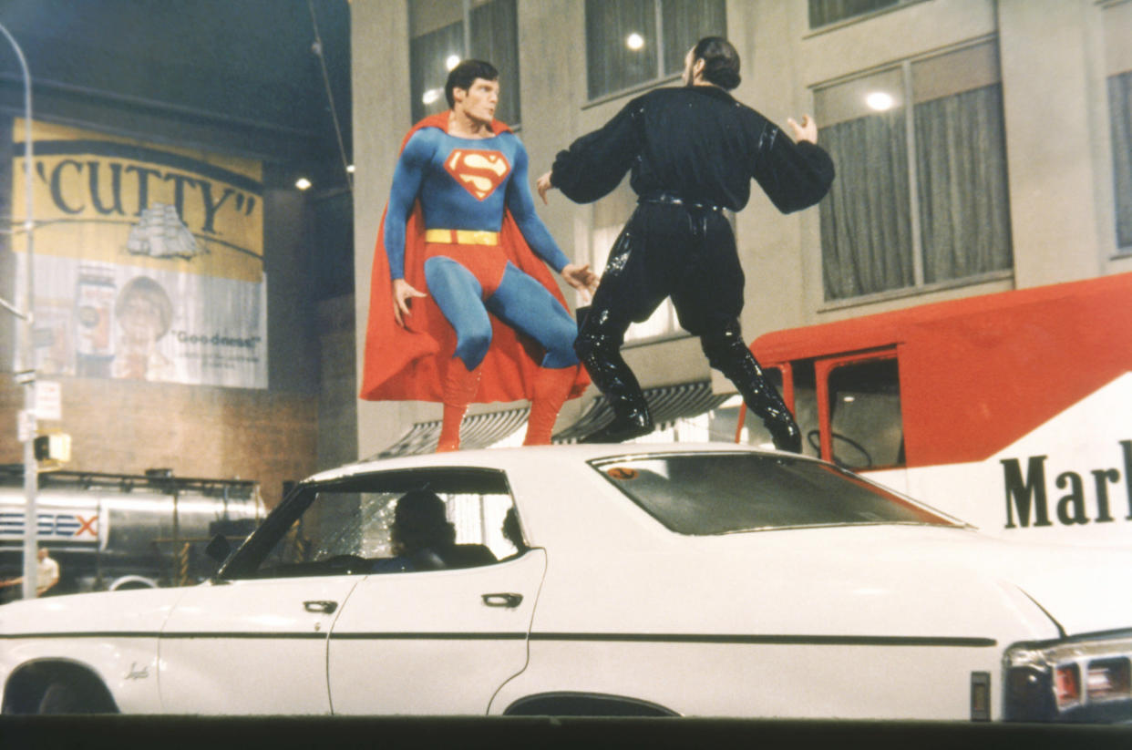Superman (Reeve) and Zod (Stamp) tangle in the streets of Metropolis in 'Superman II' (Photo: Warner Bros./Courtesy Everett Collection)