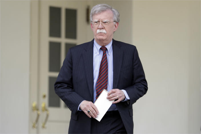 National security adviser John Bolton outside the West Wing of the White House in 2019. (Evan Vucci/AP)
