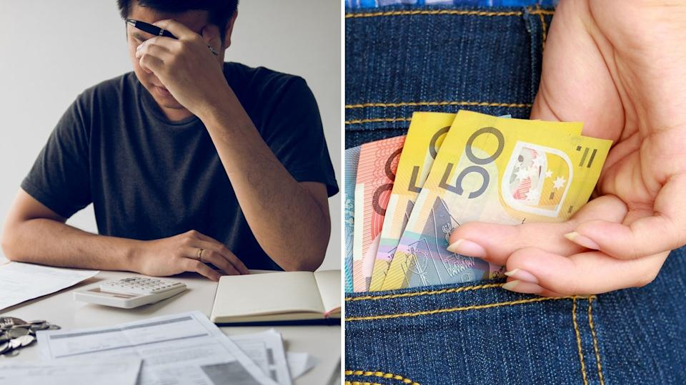 Man with head in hand, stressed while looking at financial situation. Close up of Australian money in jean pocket.