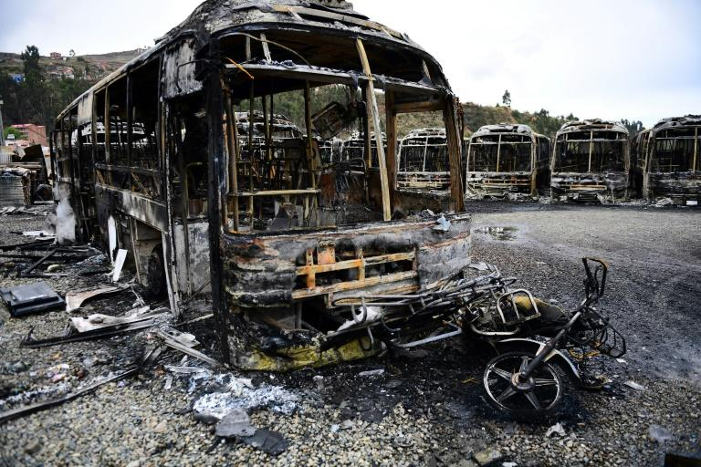 "La Paz Mayor Luis Revilla said 64 municipal buses were torched overnight during what he described as ""a night of terror"""
