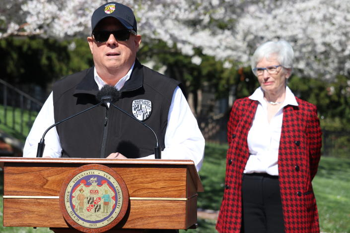 "Maryland Gov. Larry Hogan announces a ""stay-at-home"" directive on March 30. (Brian Witte/AP)"