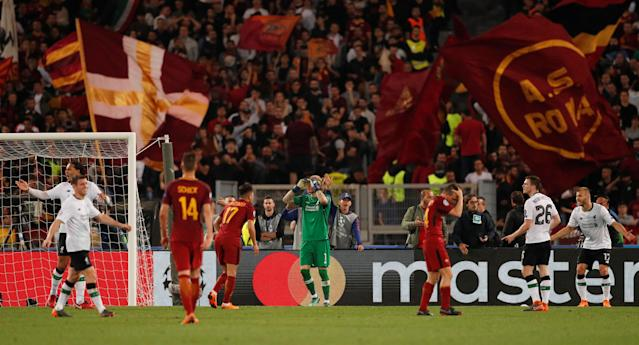 Soccer Football - Champions League Semi Final Second Leg - AS Roma v Liverpool - Stadio Olimpico, Rome, Italy - May 2, 2018 Liverpool's Ragnar Klavan reacts after a penalty is awarded to Roma Action Images via Reuters/John Sibley