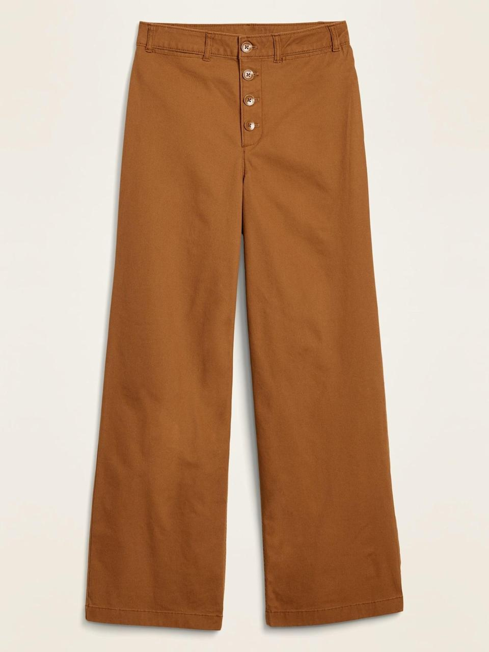 <p>These <span>Old Navy Extra High-Waisted Button-Fly Crop Wide-Leg Pants</span> ($35, originally $40) in brown are also a fun choice to mix with neutrals.</p>