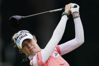 Nelly Korda of the U.S. tees off on the sixth hole during the third round of play in the KPMG Women's PGA Championship golf tournament Saturday, June 26, 2021, in Johns Creek, Ga. (AP Photo/John Bazemore)