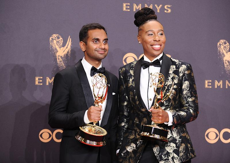 Aziz Ansari and Lena Waithe. (Jason LaVeris via Getty Images)