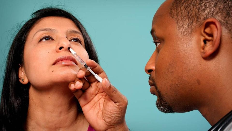 The nasal application has several advantages as it only requires a single dose in a much smaller quantity than an injection.