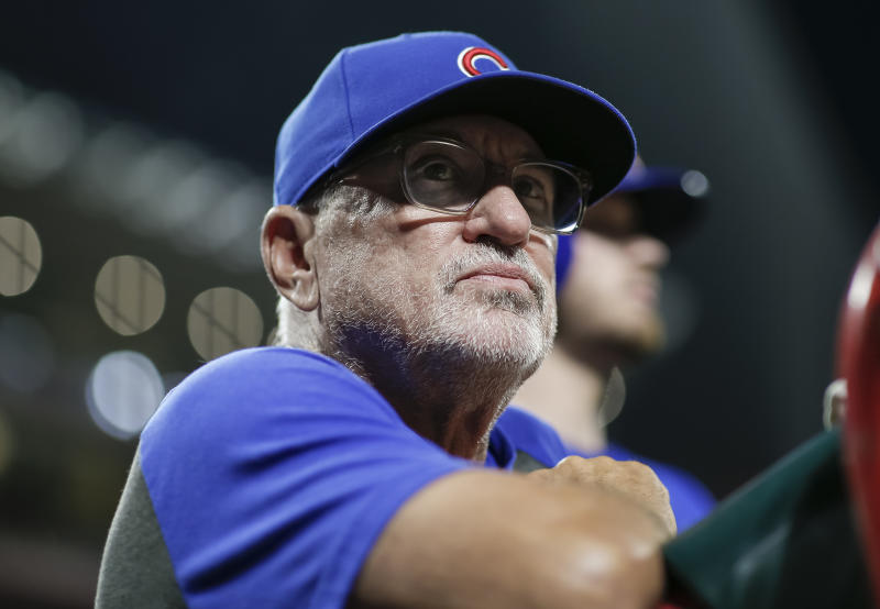 CINCINNATI, OH - AUGUST 08: Manager Joe Maddon #70 of the Chicago Cubs is seen during the game against the Cincinnati Reds at Great American Ball Park on August 8, 2019 in Cincinnati, Ohio. (Photo by Michael Hickey/Getty Images)