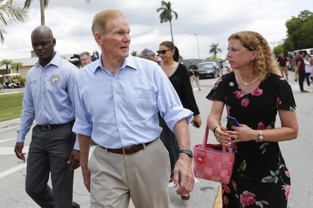 Florida state Rep. Kionne L. McGhee, D-Miami, U.S. Sen. Bill Nelson, D-Fla., and U.S. Rep. Debbie Wasserman Schultz, D-Fla., on June 19, 2018, as they approached the Homestead Temporary Shelter for Unaccompanied Children in Homestead, Fla. They were denied access to the facility. (Photo: Brynn Anderson/AP)