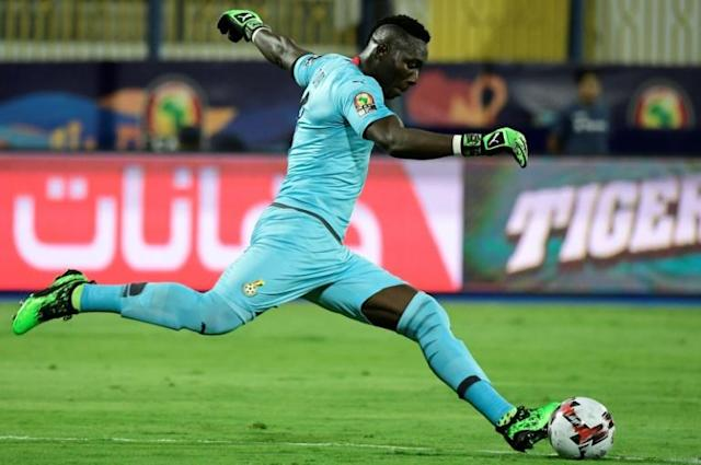 Maritzburg United goalkeeper Richard Ofori takes a goal kick for Ghana during the 2019 Africa Cup of Nations in Egypt (AFP Photo/JAVIER SORIANO)