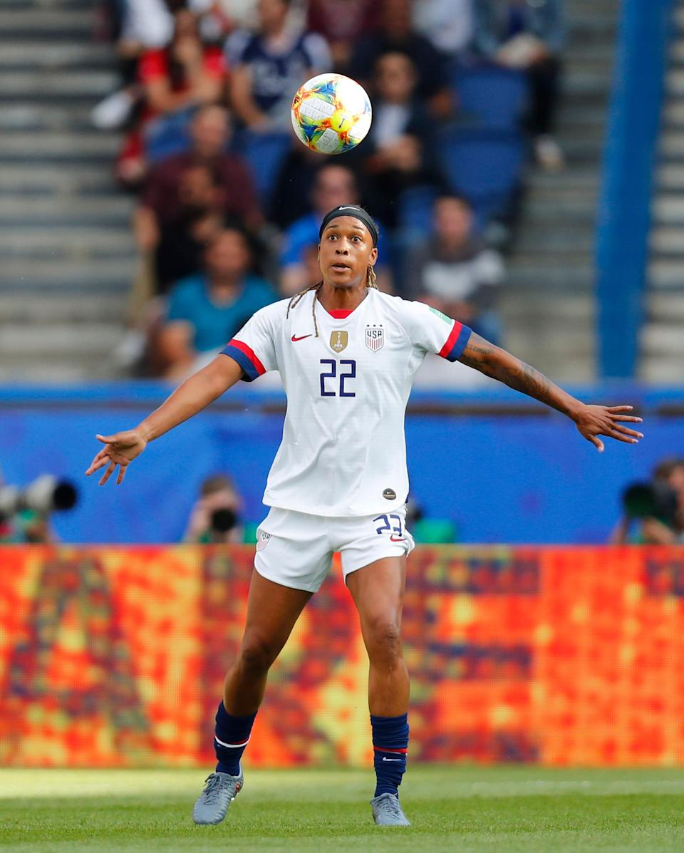 Jessica McDonald heads the ball during a Women's World Cup match against Chile on June 16, 2019.