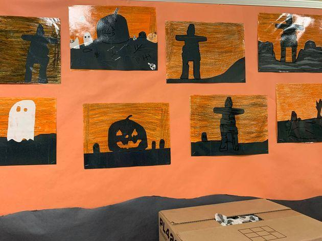 Halloween school decorations made by kids in Pangnirtung, Nunavut, using school supplies donated from people who are part of a Facebook group called