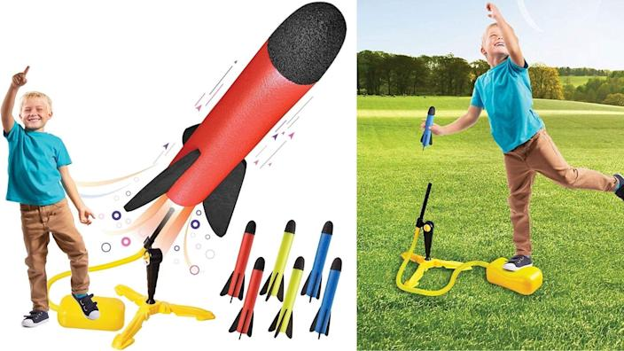 The rocket launcher folds up for easy storage, so you can easily pack it up and take it to the park or beach.