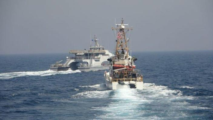 Another shot of the April 2 incident involving a US Coast Guard ship and an IRGCN ship.