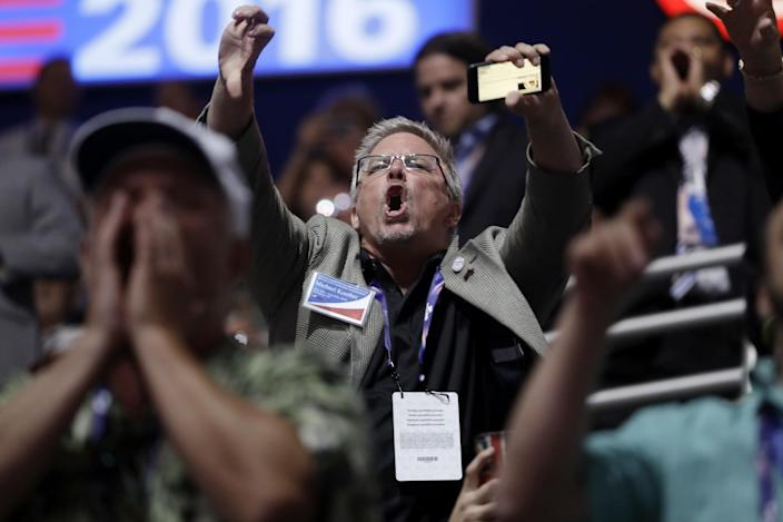 People react to Sen. Ted Cruz, R-Texas, as he addresses delegates during the third day session of the RNC in Cleveland, Ohio, on July 20, 2016. (Photo: Matt Rourke/AP Photo)