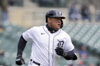 Detroit Tigers' Miguel Cabrera runs to first during the third inning of a baseball game against the Cleveland Indians, Thursday, April 1, 2021, in Detroit. (AP Photo/Carlos Osorio)