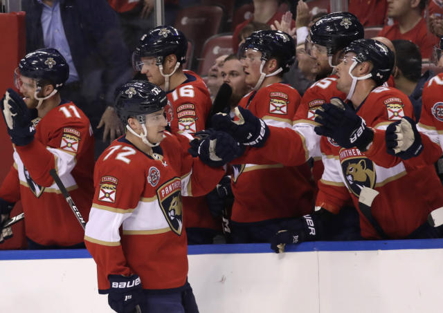 Florida Panthers center Frank Vatrano (72) is congratulated after scoring a goal during the first period of an NHL hockey game against the Washington Capitals, Monday, April 1, 2019, in Sunrise, Fla. (AP Photo/Lynne Sladky)