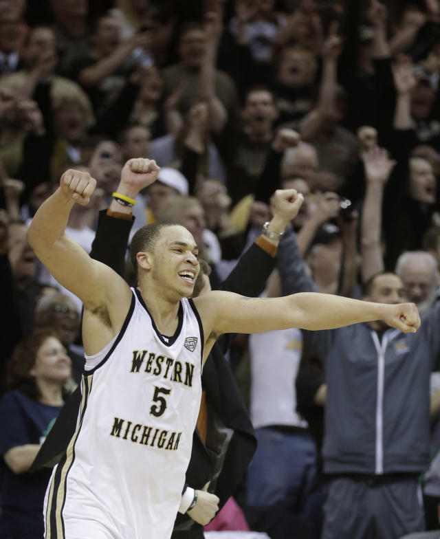 Western Michigan's David Brown celebrates after defeating Toledo 98-77 in an NCAA college basketball championship game at the Mid-American Conference tournament Saturday, March 15, 2014, in Cleveland. Brown was named MVP for the tournament. (AP Photo/Tony Dejak)