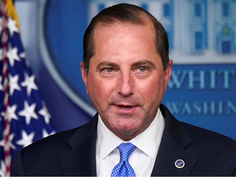 <p>US Health and Human Services (HHS) Secretary Alex Azar speaks during a news conference in the Brady Press Briefing Room of the White House in Washington, DC, on 23 August 2020</p> ((Reuters))