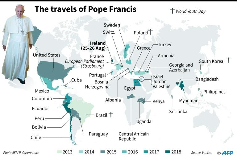 The travels of Pope Francis since 2013