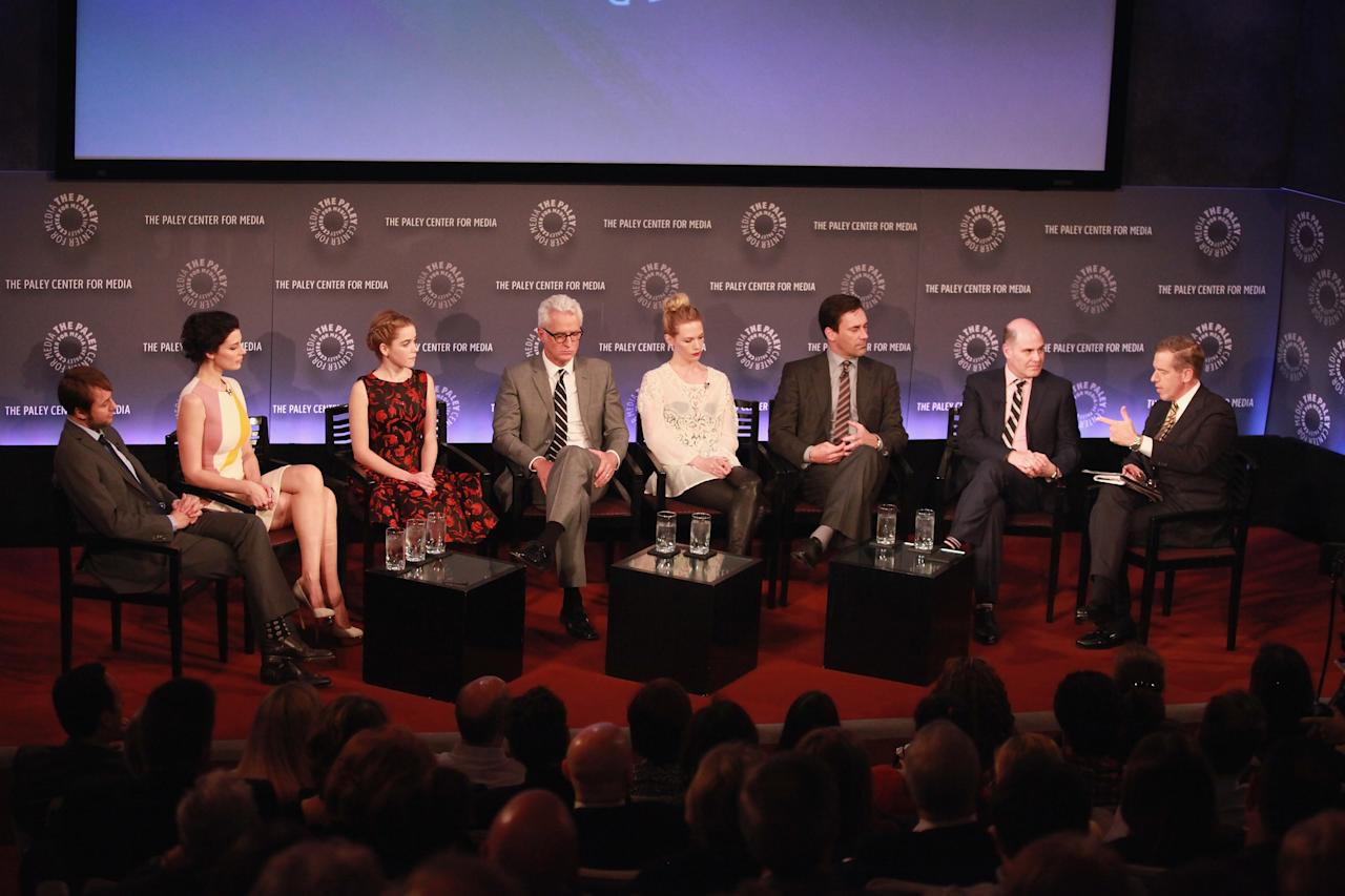 "NEW YORK, NY - APRIL 23:  Actors Vincent Kartheiser, Jessica Pare, Kiernan Shipka, John Slattery, January Jones, Jon Hamm, show creator Matthew Weiner, and moderator Brian Williams attend The Paley Center for Media presentation of ""Mad Men"" season 5 at The Paley Center for Media on April 23, 2013 in New York City.  (Photo by Taylor Hill/Getty Images)"