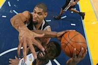 <p>2011: Tony Allen #9 of the Memphis Grizzlies shoots against Tim Duncan #21 of the San Antonio Spurs on March 1, 2011 at FedExForum in Memphis, Tennessee.</p>