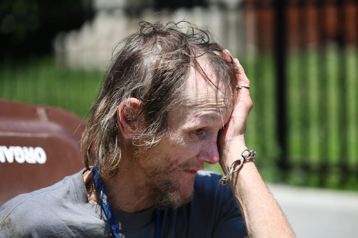 Brent Spradlin became emotional as he talked about being homeless while suffering from colon and throat cancer. June 25, 2019