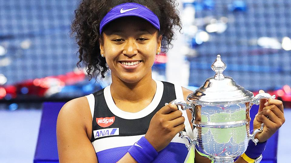Naomi Osaka, pictured here after winning the US Open at Flushing Meadows.