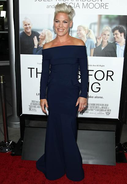 """FILE - In this Monday, Sept. 16, 2013 file photo, Alecia Moore aka Pink arrives at the premiere of """"Thanks for Sharing"""" at the ArcLight Hollywood, in Los Angeles. The pop star makes her acting debut in """"Thanks for Sharing"""" opposite Tim Robbins, Mark Ruffalo and Josh Gad. The film premiered the same day she was named Billboard's Woman of the Year. (Photo by Matt Sayles/Invision/AP, File)"""